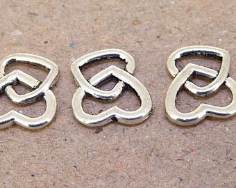 10Beads Charm Double Hearts Pendant  Beads Antique Silver Victorian Pendants Connector Beads ----- 14mmx 15mm ----- 10Pieces 2N