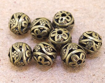 9 pcs of charm Round 11mm Flower filigree balls antique Brass bronze plated  beads metal findings Beads ----11mm ----- 9Pieces 2AQ