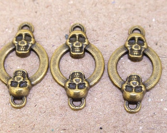 10 pcs of charm Veins Skull Link Circle Beads antique Brass bronze plated  beads metal findings Beads ----24mmx 14mm ----- 10Pieces 2P