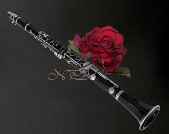 Black White Clarinet Red Rose Musical Instrument Wall Art Matted Picture A506