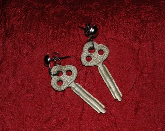 Small Antique Key Earrings
