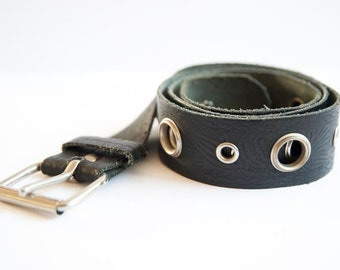 Vintage trendy black leather belt