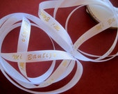 "Mi Bautizo - Satin Ribbon Trim, Gold / White, 3/8"" inch wide, 1 yard, For Scrapbook, Decor, Accessories, Mixed Media"