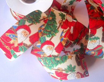 "Victorian Santa Cotton Ribbon Trim, Red, 1 1/2"" inch wide, 1 yard, For Mixed Media, Gifts, Scrapbook,  Home Decor, Accessories"