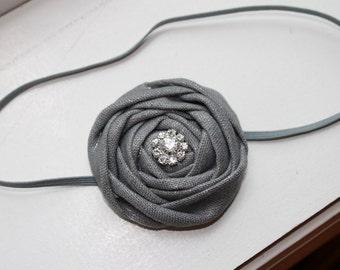 Silver Gray Sparkle Fabric Flower Headband, Christmas Headband, Newborn Headband, Baby Girl Headband, Baby Flower Headband, Photography Prop