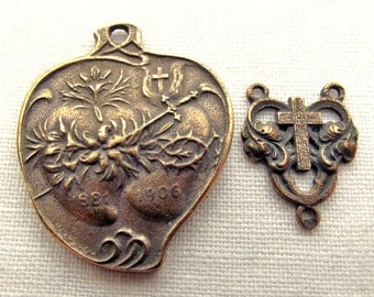 Bronze Two Hearts Rosary Set Sacred Heart Immaculate Heart Medal
