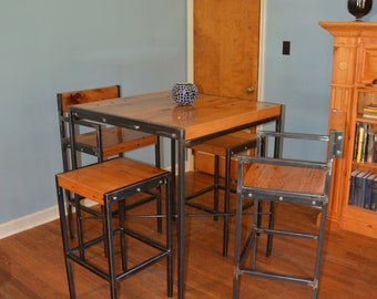 Industrial Bistro Table With 4 Stools. Stylish Reclaimed Wood Tabletop With  Steel Legs | Metal