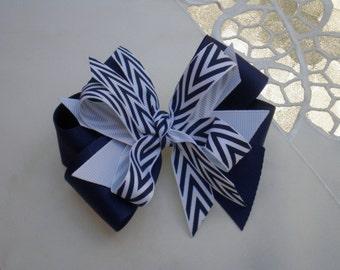 Navy Hair Bow Headband