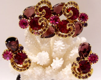 Amethyst Ruby and Pink Rhinestone Brooch and Clip Earring Parure
