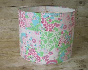 Drum Lamp Shade Lampshade made with Lilly Pulitzer Patchwork Fabric
