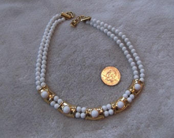Vintage Necklace-Snowy White Lucite Beaded With Goldtoned Accents-N644