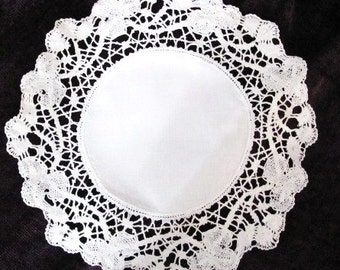 Lovely Crochet Doily with Linen Center