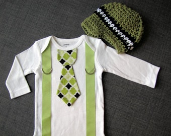 Baby Boy tie one piece bodysuit with suspenders and crochet hat set, green, black, argyle, photo prop, baby boy fashion