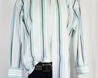 90s Gucci mens turquoise stripe dress shirt/ brown grey white / long sleeves 100% cotton: Size 16  32/33