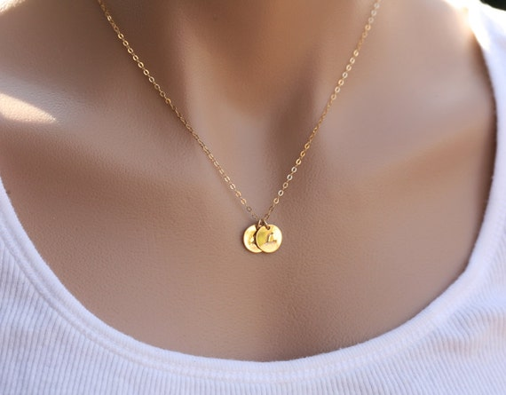 Personalized Monogram Initial Necklace,GOLD Filled, Family, Couple,Birthday,Best Friend, Kid, Sisterhood, Disc layered jewelry