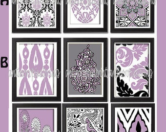 Vintage / Modern Inspired Ikat Art Prints Collection - Any One 8x11 Print - Featured in Lavender Grey White Black (UNFRAMED)