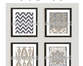 Khaki Tan Grey Unframed Vintage / Modern inspired Art Prints Collection -Set of (4) - 9x9 Print (UNFRAMED)