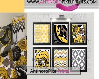 Yellows Brown Grey  Floral Chevron Damask Picture Wall Art - Set of 6 - 8x10 Prints - (UNFRAMED)