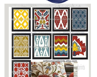 Ikat Digital illustration Wall Art - Set of (9) - 11x14 Prints - Featured in Red Blue  (UNFRAMED)