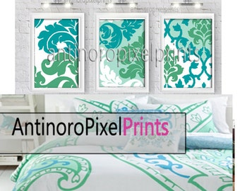 Turquoise Greens Damask Digital Wall Art Print  -Set of (3)  Prints -  (UNFRAMED) Custom Colors Sizes Available