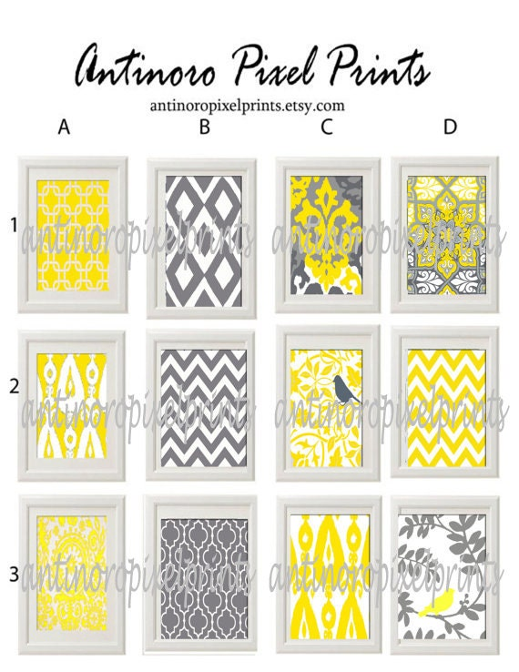 Vintage / Modern inspired Art Prints Collection (Series A) - Pick Any Four Any color 5x7 Print - Featured in Yellow Grey White  (UNFRAMED)
