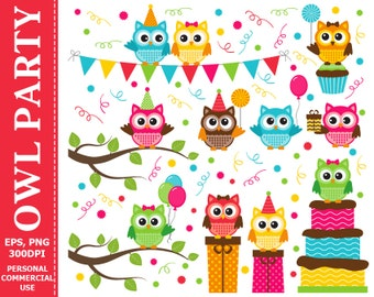 70% OFF SALE Digital Owl Party Clip Art Party, Candies, Cake, Balloons, Happy Birthday, Gifts Clip Art