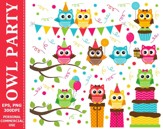 Digital Owl Party Clip Art Party Candies Cake Balloons
