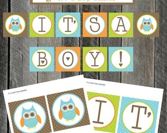 """Printable """"It's A Boy!"""" Owl Banner Dots Option by Pixels n Ink - INSTANT DOWNLOAD"""