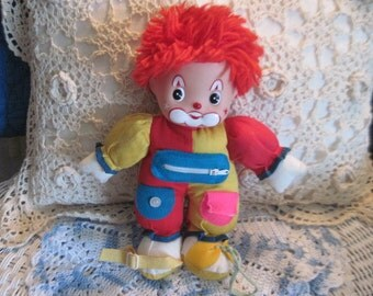 Clown I can do it Myself Clown Doll  By Dan Brechner, Do Myself Clown Doll, Learning Toy, Vintage Toy, Cloth Clown, Toddler Learning  :)s