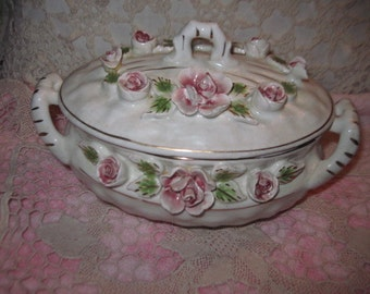 Covered Vintage Bowl, Beautiful Flowered Glass Bowl  with Lid, Shabby Cottage Chic, Cottage Chic, Roses, Vintage Home Decor,  :)