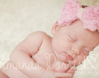 Beautiful Pink Infant Toddler Rosette Bow Headband with Pearl Center