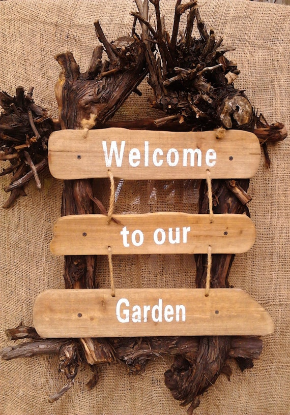 Grapevine Wreath Garden Art Wreath Garden Decor Outdoor Art Outdoor wall art Garden OOAK Welcome Sign by colonialcrafts on Etsy