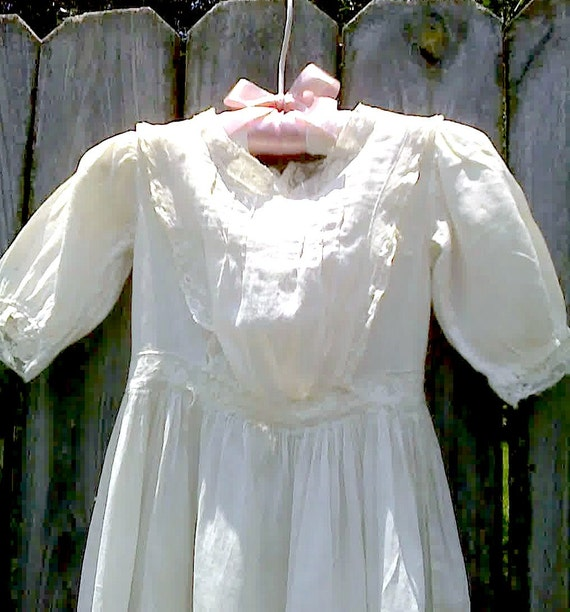 Vintage Baby Dress Victorian Batiste, French Country Nursery, Tattered Lace