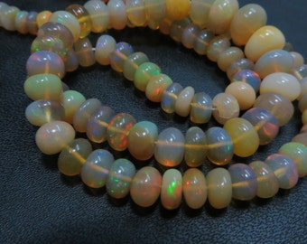 16 Inches Ethiopian Opal Smooth Rondells Good Quality Full Flashy Fire Natural Color  Size 4 mm To 7 mm  Approx