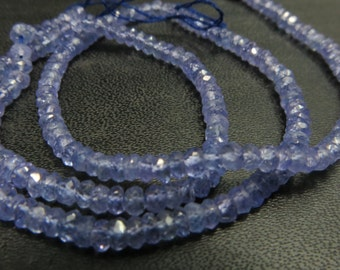 100% Naturar 14 Inches High Quality Tanzanite Rondell Micro Faceted Beads Size 2 mm 2.50 mm Approx