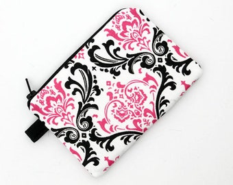 Change purse, pink iPod nano pouch, cute coin pouch, padded zip gadget pouch - candy pink damask