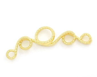 """10 Gold Plated Vine Connector Charm - Gold Plated - Cadmium Free - 25mm x 5mm (1"""" x  1/4"""")( K15131)"""