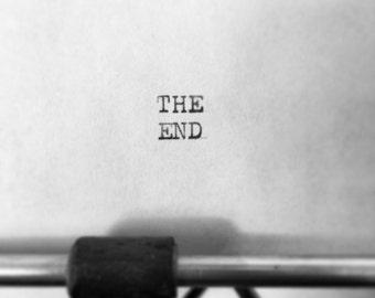 Customizable Black And White Typography The End Word Smith-Corona Typewriter Print