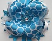 Aqua Polka Dot Layered Boutique Hair Bow-Aqua, Turquoise,White, Glitter, Lace, Ribbon