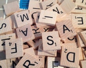 SALE! 100 Scrabble Tiles Wooden, Scrabble Game Wood Pieces for Altered ARts, Crafts, MIxed Media, etc.