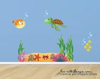 Fish Wall Decals, Ocean Floor Fish Fabric Wall Decal Set