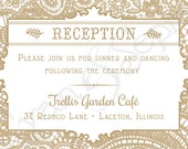 Vintage Lace - 3.5x5 Printable Wedding Reception Enclosure Card - Cottage Victorian Rustic Elegant - Gold White Pink Blush Gray Grey