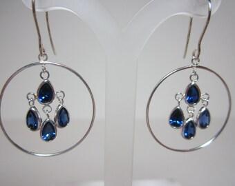 Lab grown Blue Sapphire Chandelier Earrings