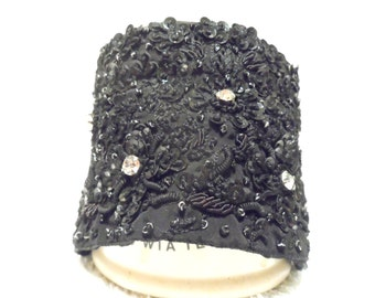 Couture collar. Black embroidered glass bead wrap with large faux diamonds and diamante block sides.
