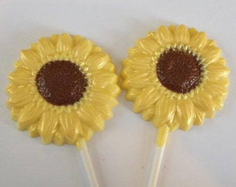 Chocolate Sunflower Lollipop Party Favors