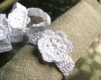 Crochet napkin rings, Set of 4, 6, 8, 12 napkin rings, rustic wedding table decor, Shabby Chic, Home Decoration, Cotton napkin rings