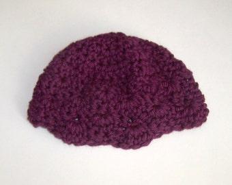 Baby Hat- Crocheted in Dark Purple - Plum