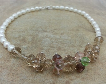 Freshwater Pearl and Swarovski Crystal Necklace - Bead Cluster, Hand Wired, Bridal, Special Occasion, Holiday