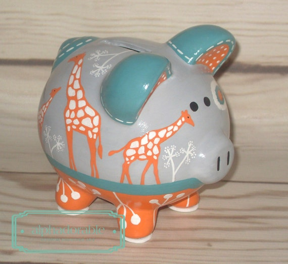 Ikat giraffe artisan hand painted ceramic by alphadorable for How to paint a ceramic piggy bank