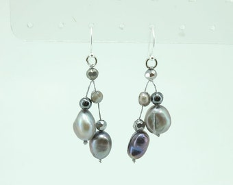 Grey freshwater pearl,crystal and hematite earring.